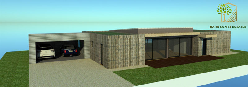 Construction d une maison ossature bois contemporaine for Construction contemporaine toit plat